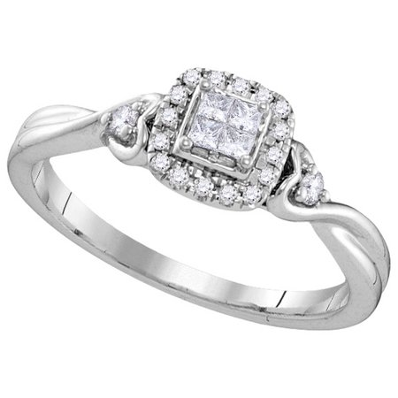 Size - 7 - Solid 10k White Gold Princess Cut Round White Diamond Engagement Ring OR Fashion Band Invisible Set Square Shape Solitaire Shaped Halo Ring (1/5 (Invisible Set Band)