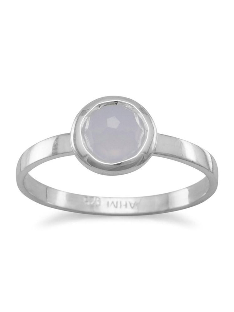 Synthetic Blue Chalcedony Stackable Ring Round Faceted Sterling Silver by unknown