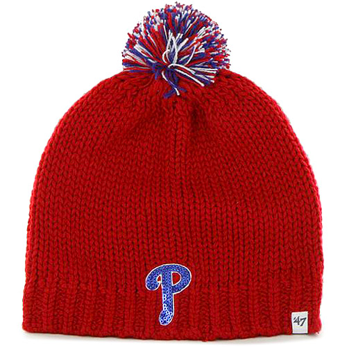 Philadelphia Phillies '47 Women's Sparkle Uncuffed Knit Beanie - Red - OSFA