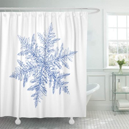 PKNMT Pencil Drawing Blue Snowflake on White This Sketch Based Macro Real Snow Crystal Bathroom Shower Curtain 66x72 inch