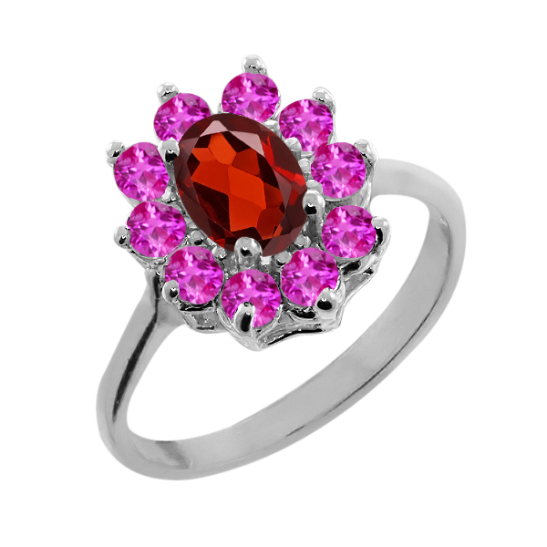 1.40 Ct Oval Red Garnet Pink Sapphire 14K White Gold Ring by