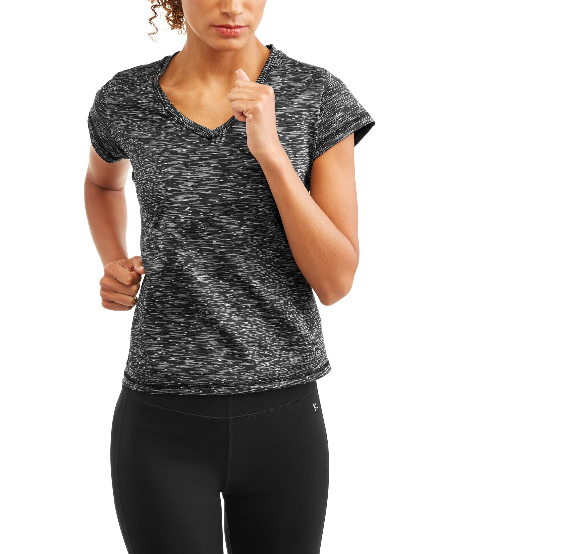 Daisy Fuentes Women's Core Active Short Sleeve Spacedye Performance T-Shirt