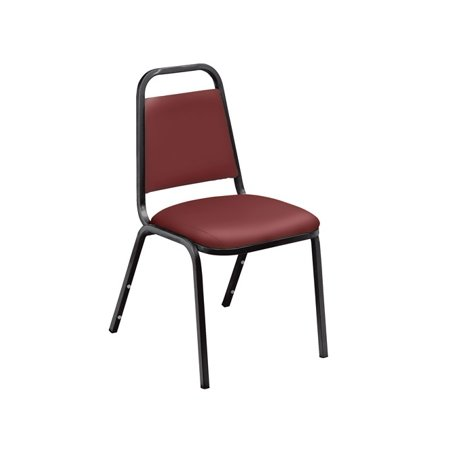 Vinyl Padded Stack Chair - NPS® 9100 Series Choice Vinyl Upholstered Padded Stack Chair, Pleasant Burgundy (4 pack)