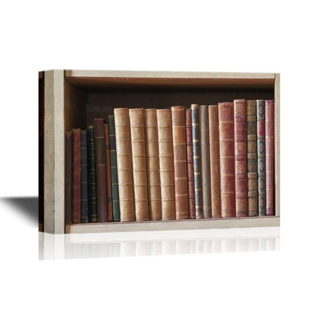 wall26 - Canvas Wall Art - Artwork with Bookshelf and Old Books - Gallery Wrap Modern Home Decor | Ready to Hang - 32x48 inches