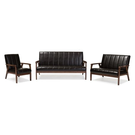 Baxton Studio Nikko Mid-century Modern Scandinavian Style Faux Leather 3 Pieces Living Room Sets, Multiple Colors Rustic Brown Leather 3 Piece