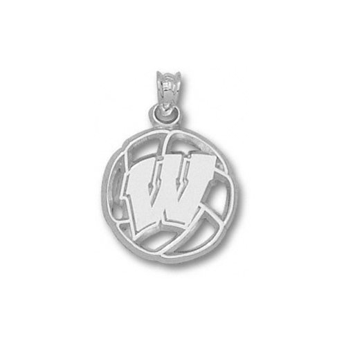 NCAA - Wisconsin Badgers Sterling Silver ''W'' Volleyball Pendant