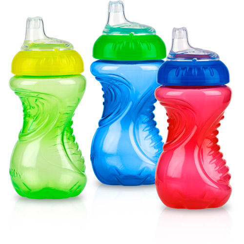 Nuby 3-Pack 10-oz No-Spill Gripper Cup with Soft Silicone Spout, Boy, BPA-Free