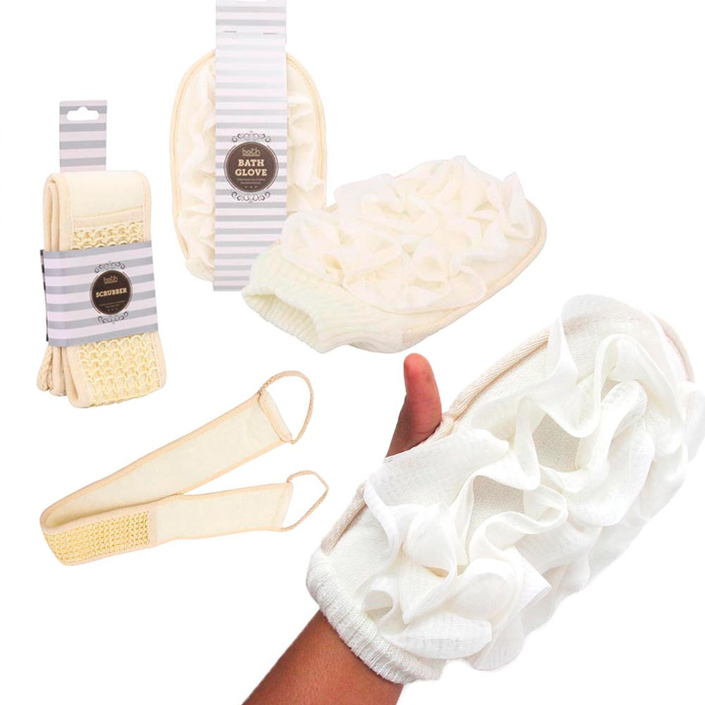 2 pc Exfoliating Bath Glove Scrubber Skin Stimulating Shower Sponge Loofah Body