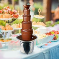 "27.6"" Stainless Steel 5-Tier Heated Chocolate Fountain, Auto Temperature Control 86°- 230° F For Weddings, Parties, Socials, Celebrations"