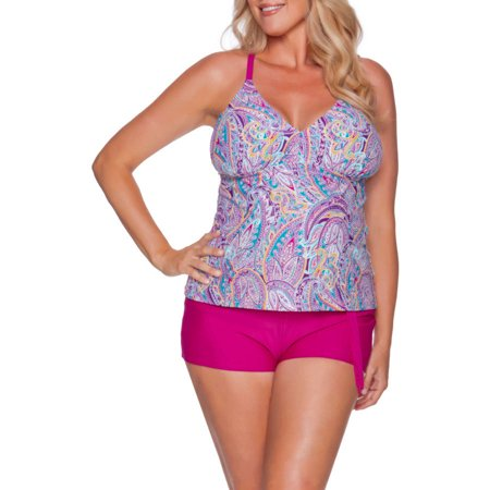 5796ed8a8db Catalina - Collections by Women s Plus-Size Strappy Macramᅢᄅ Halter  Tankini Top - Walmart.com