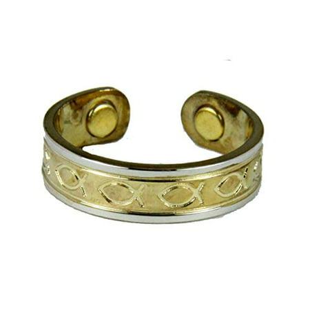 Magnetic Copper Ring Christian Fish Icthus Symbol Balance Health (Copper Fish)