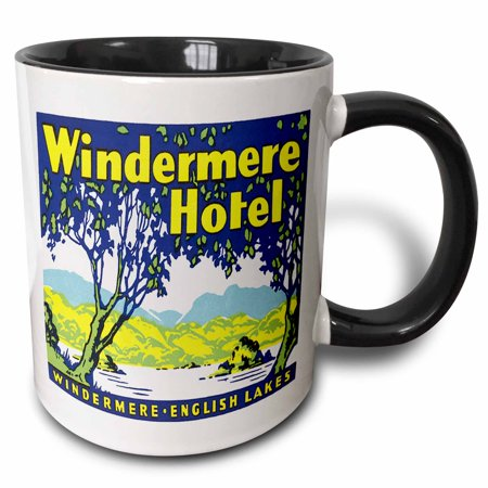 3dRose Vintage Windermere Hotel English Lakes Luggage Label - Two Tone Black Mug, 11-ounce