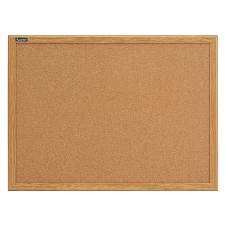 Quartet Cork Bulletin Board, 2' x 3', Oak Finish Frame (Bulletin Board Maple Finish)