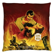 Gone With The Wind Fire Poster Throw Pillow White 18X18