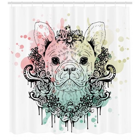 Animal Shower Curtain French Bulldog With Floral Wreath On Brushstroke Watercolor Print Fabric Bathroom Set Hooks Mint Pale Pink Green
