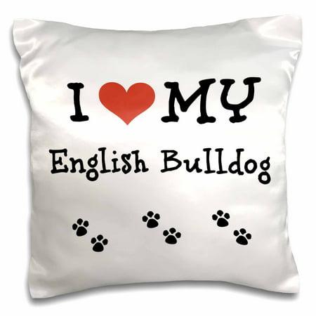 3dRose I Love My - English Bulldog - Pillow Case, 16 by 16-inch