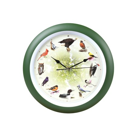 Mark Feldstein Limited Edition 20th Anniversary Singing Bird Wall Clock - 8 Inches - Green