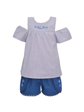My Destiny Little Girls Navy Cold-Shoulder Top 2 Pc Shorts Outfit