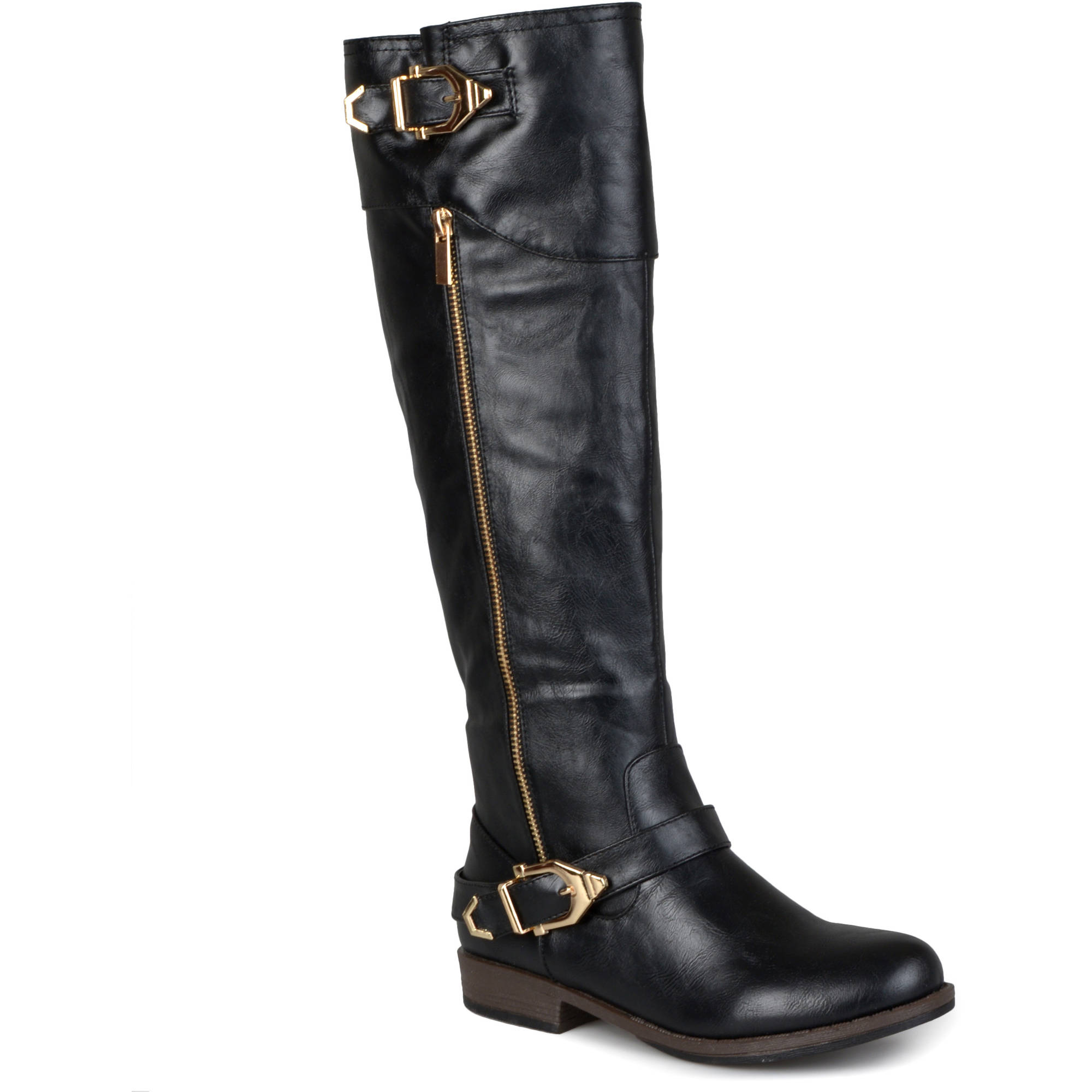Womens Round Toe Buckle Detail Boots