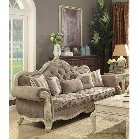 Antique White & Gray Living Room Sofa Classic Acme Furniture 56020 Ragenardus ()