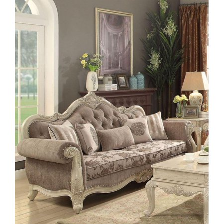 Antique White & Gray Living Room Sofa Classic Acme Furniture ...
