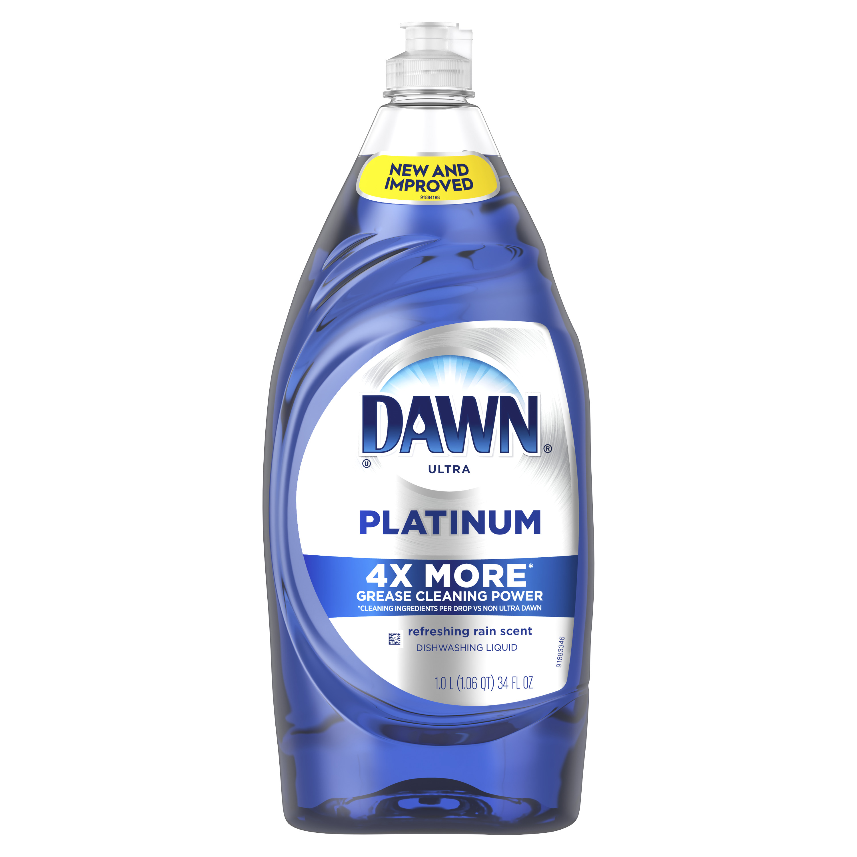 Dawn Platinum Dishwashing Liquid Dish Soap, Refreshing Rain Scent, 34 fl oz