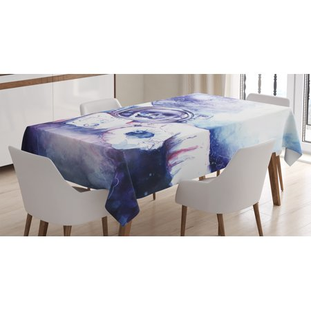 Skull Decorations Tablecloth  Watercolor Cosmonaut On Outer Space Milky Way With Moon Earth Galaxy  Rectangular Table Cover For Dining Room Kitchen  60 X 84 Inches  Blue Purple  By Ambesonne