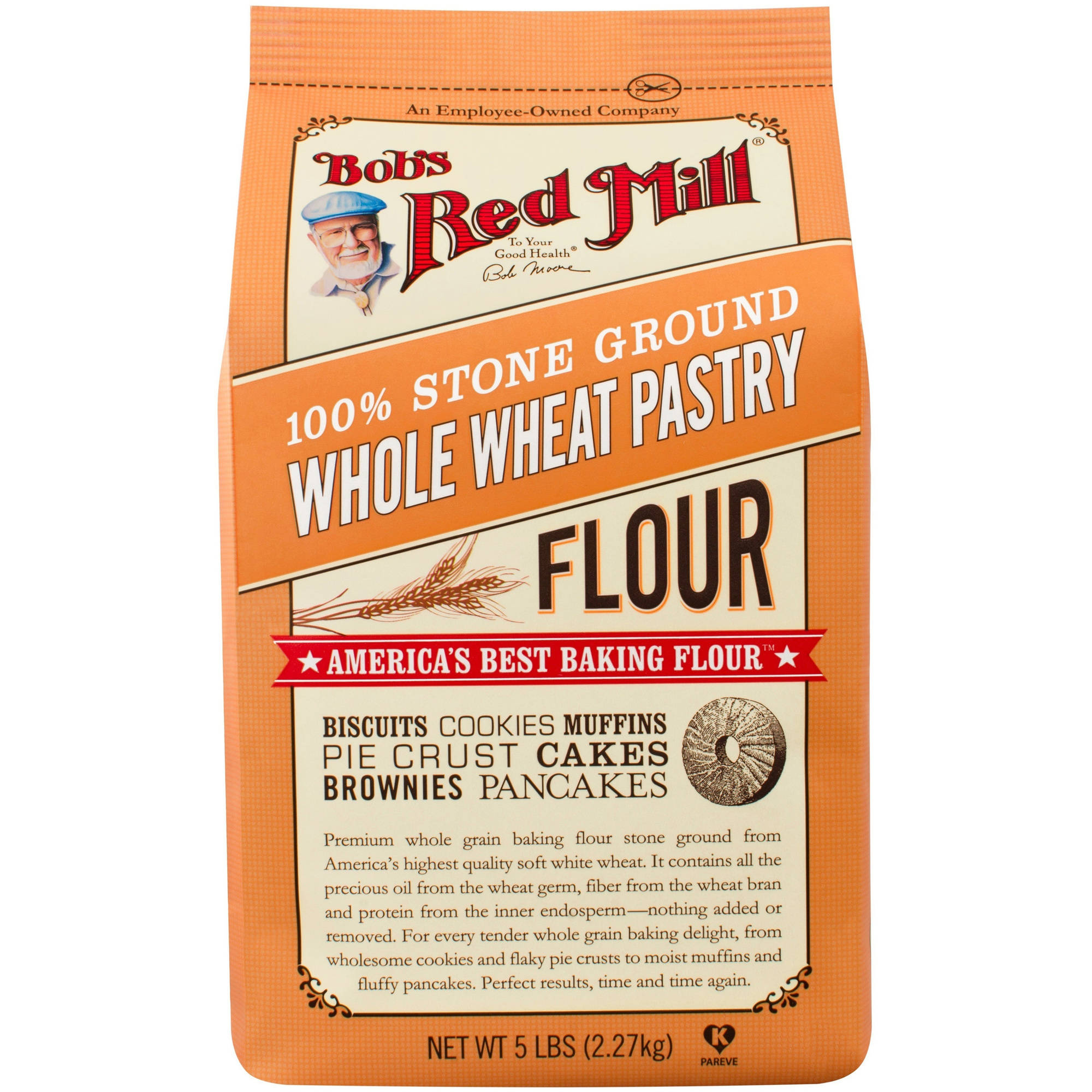 Bob's Red Mill Whole Wheat Pastry Flour, 5 lb (Pack of 4)