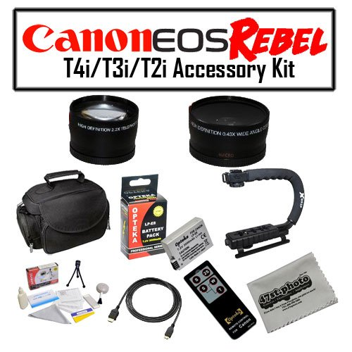 Deluxe Accessory Kit for Canon EOS Rebel T2i T3i T4i with Opteka Microfiber Deluxe Photo / Video Camera Gadget Bag, Opteka X-Grip Handle, Opteka .43x and 2.2x Wide Angle and Telephoto Lens Set + More!