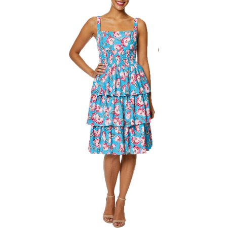 Betsey Johnson Womens Floral Tiered Mini Dress