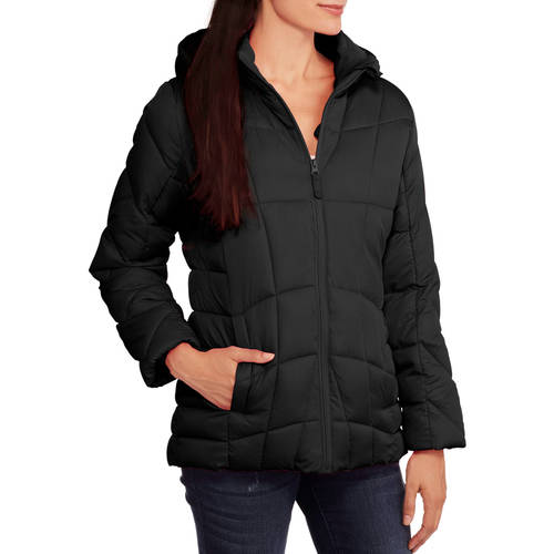 Faded Glory Women's Hooded Puffer Jacket Coat - Walmart.com