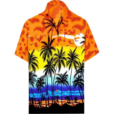 Palms Button - Hawaiian Shirt Mens Beach Aloha Camp Party Holiday Short Sleeve Button Up Down Palm Tree Print P
