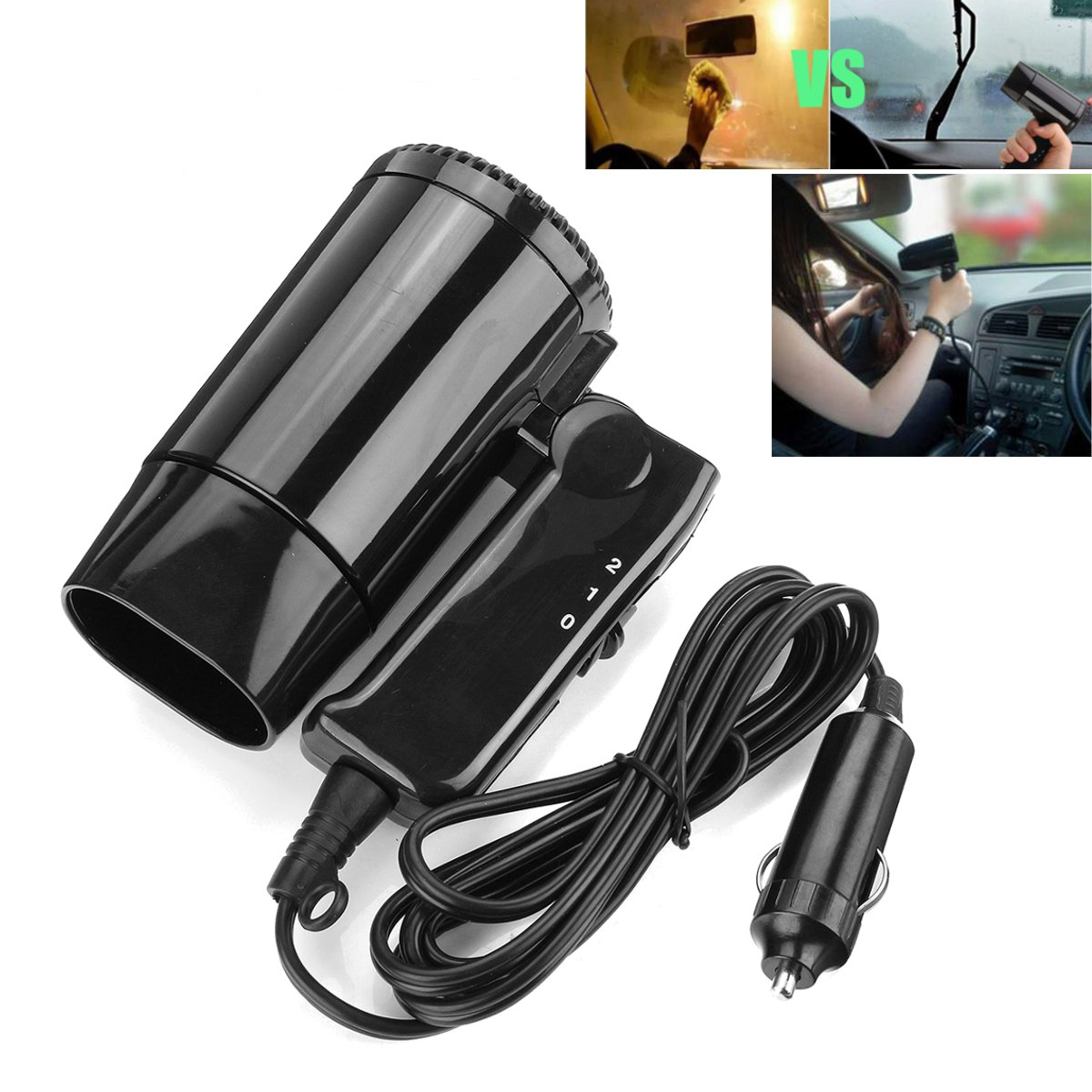12V Hot & Cold Travel Two Speed Car Portable Folding Camping Hair Dryer Window Defroster