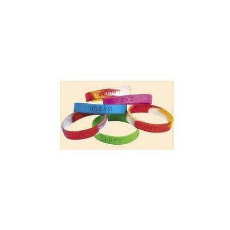 Fun Express - Mega Assortment Sayings Bracelet - Jewelry - Bracelets - Rubber Bracelets - 100 Pieces