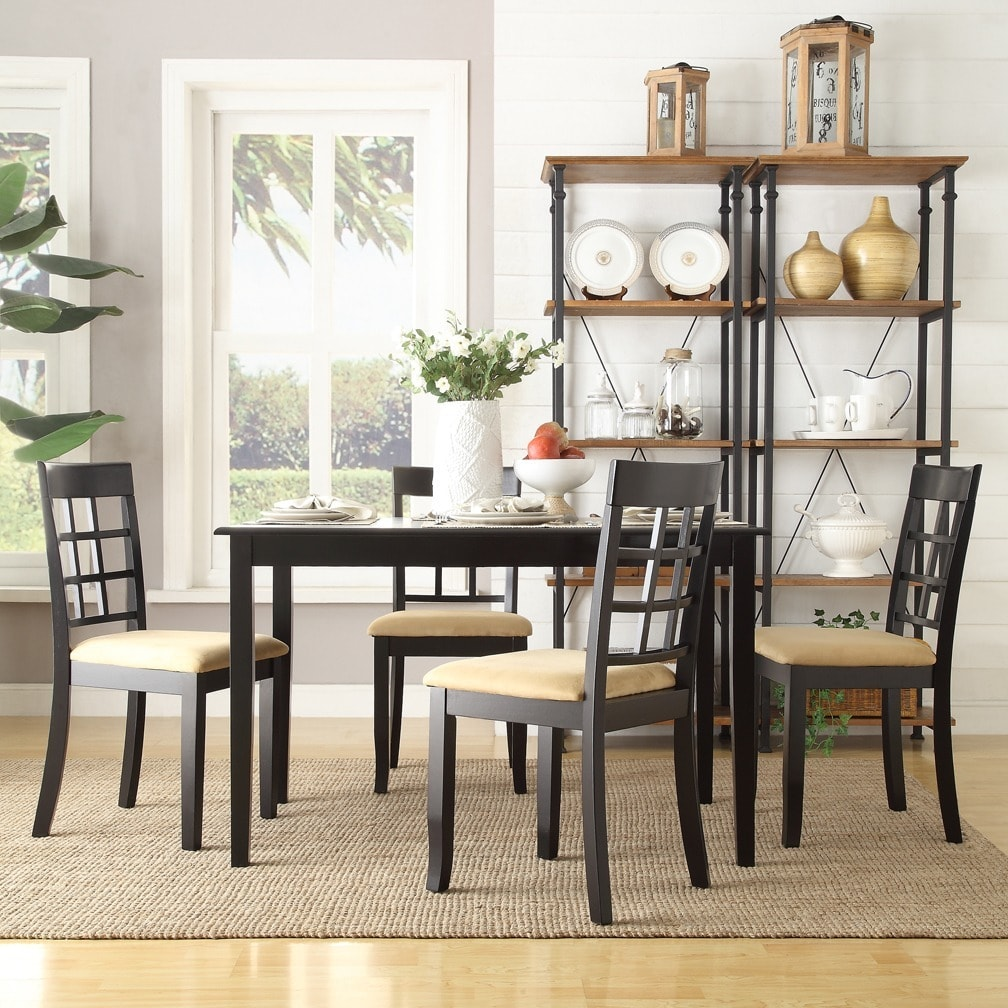HomeBelle Five Piece Trellis Back Casual Dining Set