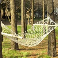 Wood Pole Cotton Rope Hammock Bed with Rope White