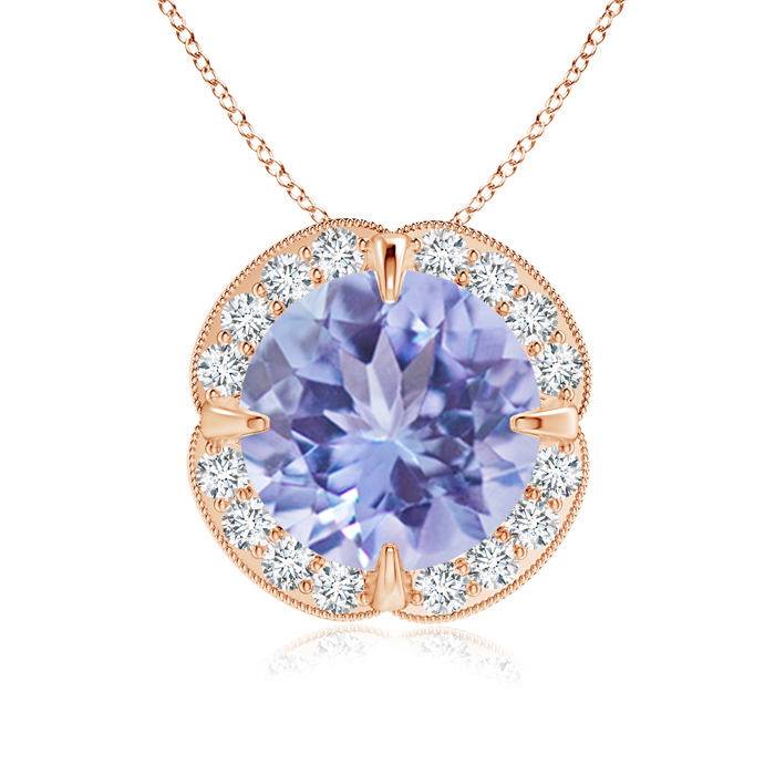 December Birthstone Pendant Necklaces Claw Set Tanzanite Clover Necklace Pendant with Diamond Halo in 14K Rose Gold (9mm... by Angara.com
