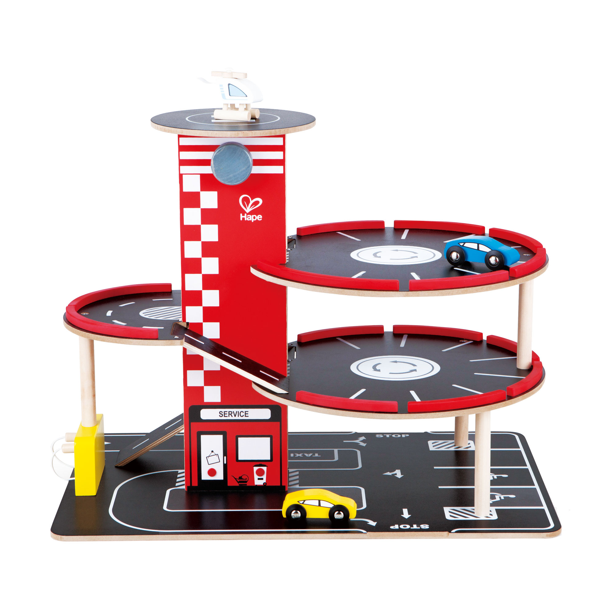 Hape Toddler Wooden Toy Play Set RaceAround Parking Garage w/ Cars & Helicopter