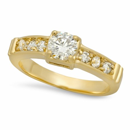5.5mm Gold Plated Small Round CZ Solitaire Ring w/CZ Band, Size 8.5