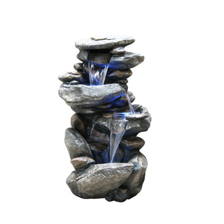 - Alpine Four Tiered Rock Fountain with LED Lights, 40 Inch Tall