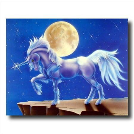 Unicorn Full Moon Magical Kids Wall Picture Art Print