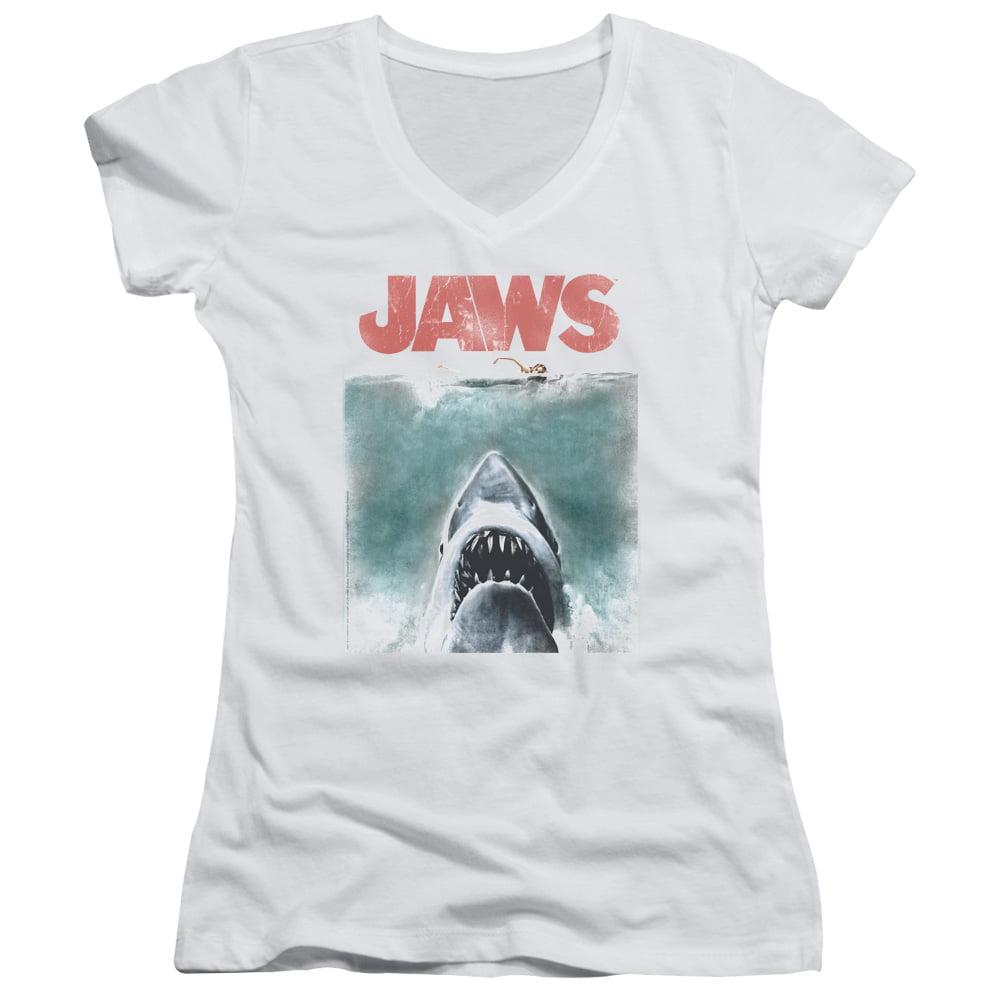 Jaws Vintage Poster Juniors V-Neck Shirt