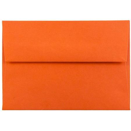 JAM Paper 4bar A1 Envelope, 3 5/8 x 5 1/8, Brite Hue Orange, 50/pack