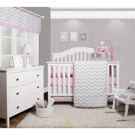 Celestial Baby Bedding - OptimaBaby Pink Grey Chevron 6 Piece Baby Girl Nursery Crib Bedding Set