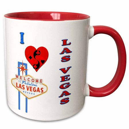 Las Vegas Container - 3dRose I love las vegas. Nevada. Playing cards. Casino. Popular saying. - Two Tone Red Mug, 11-ounce