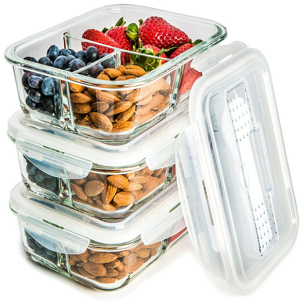3 Pack Glass Meal Prep Containers 3 Compartment Food Storage Container Set With Airtight Locking Lids With Cutlery Compartment Portion Control Microwave Freezer Oven Dishwasher Safe Walmart Com Walmart Com