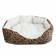 Small Pet Dog Cat Bed, Soft Washable Dog Cat Pet Warm Basket Bed Cushion with Removable Pet Pad S-M Size