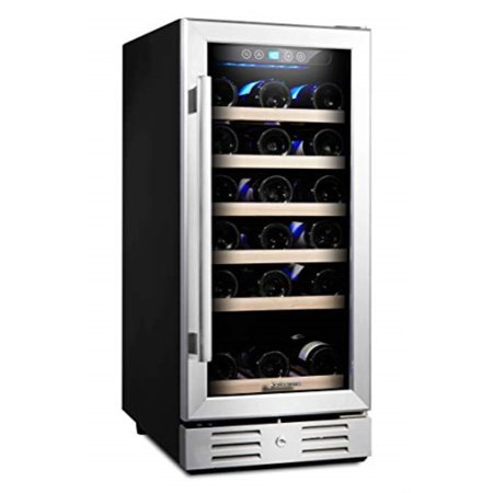 Kalamera 15'' Wine Cooler 30 Bottle Built-in or Freestanding with Stainless Steel & Double-Layer Tempered Glass Door and Temperature Memory -