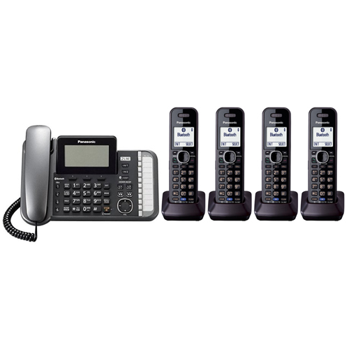 Panasonic KX-TG9584B DECT 6.0 2-Line Operation 5 Handset Phone System Digital Answering System by Panasonic