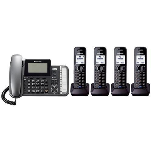 Panasonic KX-TG9584B DECT 6.0 2-Line Operation 5 Handset Phone System Digital Answering System by Panasonic